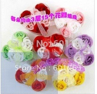 soap flower heart shape hardmade rose petals rose flower paper soap mix color (6pcs=1box), 20 box=120pcs/lot