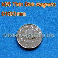 N35, D10X1mm, 1pcs/lot, 1 pcs as a pack, Disk  used in cars, Neodymium  permanent magnets