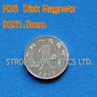 N35, D3X1.5mm, 1pcs/lot, 1 pcs as a pack, Disk  used in cars, Neodymium  permanent magnets