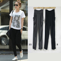 Candy color harem pants loose casual wide leg pants elastic skinny pants ankle length trousers shank length trousers