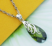 Wholesale & Retail for 100% Full 925 Sterling Silver Pendant Mosaic Olive Crystal, 925 Silver Pendant (I0714)(China (Mainland))