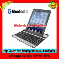Wholesale Retail Package Wireless Aluminum Bluetooth 3.0 Keyboard Case for New iPad (iPad 3) / iPad 2 Black Color Free Shipping