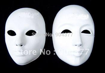 Free shipping  Thicken Plain White Masquerade Masks  Full Face Paper Pulp DIY Fine Art Painting Masks 10pcs/lot