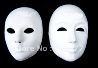 Thicken Plain White Masquerade Party Masks Full Face Paper Pulp Blank Mask DIY Fine Art Painting Masks 10pcs/lot  Free shipping