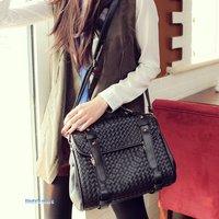 Retro package Korea limited edition woven bag portable diagonal pu bags