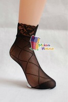 CPA Free Shipping Wholesale 10Pair/lot Fashion Hot Lady Girl Women Sexy Lace Fishnet Mesh Ankle High Socks
