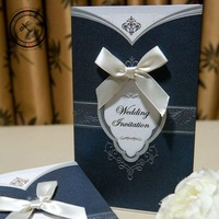 Vintage Theme Wedding Invitation Cards with Bow in Dark Blue (Set of 100) Printable & Customizable Free Shipping New