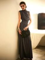 Double e 30030 luxury gorgeous romantic slim waist stand collar suit long formal dress 580g