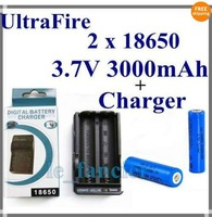 2 x Ultrafire Li-ion 18650 3.7V 3000mAh Rechargeable Battery + One Charger