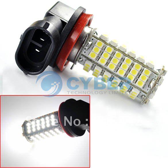 Free Shipping 2 Pcs Car 102 H11 SMD LED Pure White Parking Head Fog Light Lamp Bulb 12V New