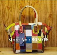 Сумка через плечо 100% Genuine Leather Snake Print Bright Fashion Patchwork Handbags Shoulder Bag Colorful