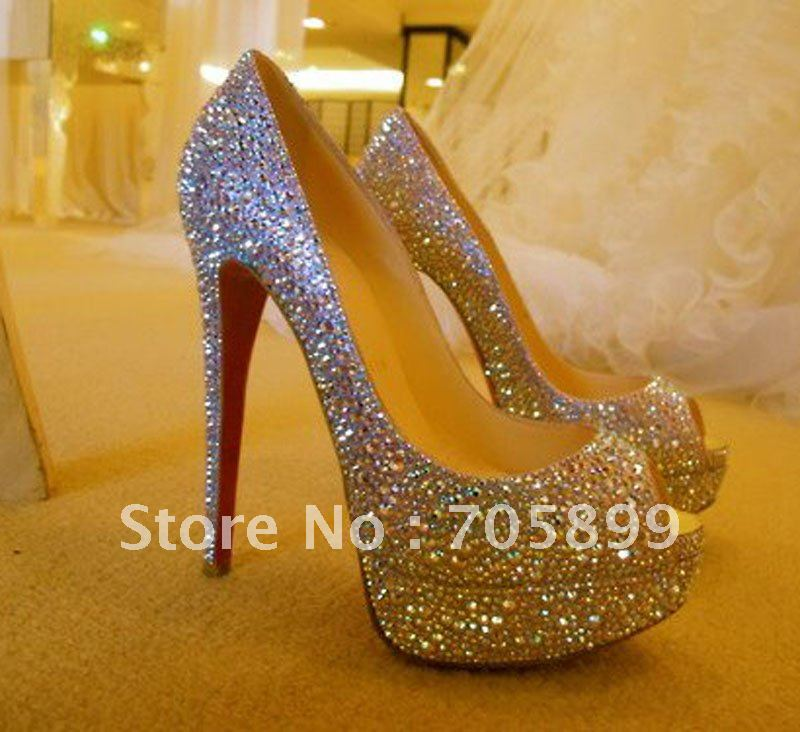 red bottom wedding shoes crystal shoes for wedding ceremony women high