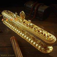Tibetan alloy stick incense burner with eight auspicious symbols