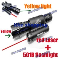 wholesale 501B Flashlight Torch + Red dot laser 20mm rail mount free shipping