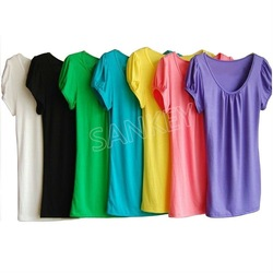 Track Ship+New Pure Color Bottoming T-shirt Top Tee T Puff Sleeve(Hong Kong)