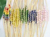 FREE POSTAGE 20PCS Mixed Colours glass seed beaded braided raffia wish bracelets #21641