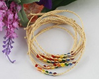 FREE POSTAGE 20PCS raffia wish bracelets W/multicolour glass seed beads #21646