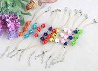 FREE POSTAGE 10PCS Mixed colours Polymer clay flower Bead Raffia Wish Bracelets #21657