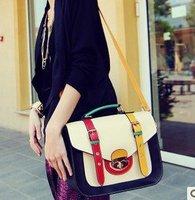 Soft collision color retro briefcase handbag  female  pu bags