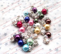 Free Shipping!50Pcs/Lot Mixed Colors Dangle Glass Simulated-Pearl EP Charm Beads With Clear AB Spacer 079