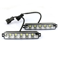 5 LED White Universal Daytime Running Driving Light DRL Fog Lamp Waterproof
