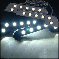 Free Shipping Black Slim L Shape 2 x 6 LED 6W 12V Car Daytime Running Lighting White DRL Light