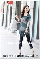 Summer Korean Style Women Solid O-Neck Loose Oblique Split One Shoulder Short Sleeve Bat T-shirt, Free Shipping