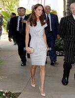 Free shipping formal asymmetrical v-neck short sleeve wrapped ruffle sash celebrity red carpet dresses RC35