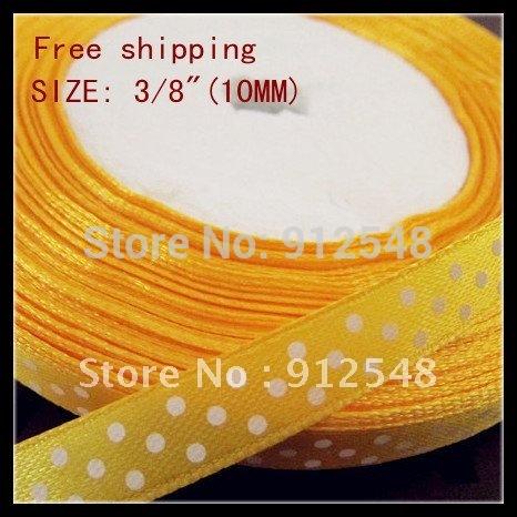 """3/8""""(10mm) Polka Dot satin ribbon,100 yards/lot(every color ) FREE SHIPPING,yellow dot satin ribbon,Silk ribbon(China (Mainland))"""