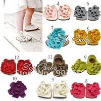 24 pairs /lot TOP BABY prewalker baby shoes lovely infant flower foot wear sandals toddel Baby's walker shoe 10 colors
