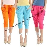 Free Shipping New 2012 Fashion Lady's Colorful Drape Harem Pants Hip-Hop Stretch Trousers 7 Colors 5pcs/Lot