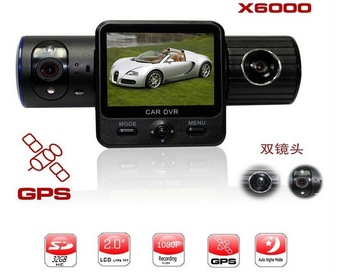 X6000 2.0 inch LCD Rotatable Dual Camera Lens GPS Car DVR with G-sensors IR light Free drop ship