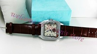Free shipping&amp;packbox/NEW Skeleton Transparent Mechanical stainless steel Square face leather band fashion AUTOMATIC Wrist Watch