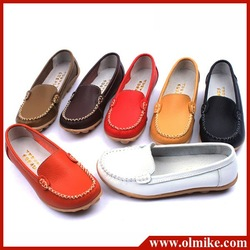 cool Special 100% genuine leather tendon flat shoes with round single women mother shoes, flat boat scoop shoes free shipping(China (Mainland))