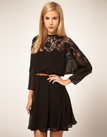 Women Fashion Trendy Lace Patch Work Chiffon Dress With Belt Free Shipping