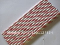 Free shipping Drinking Paper Straws,Paper Straws, pink  stripe party paper drinking Straws 500pcs