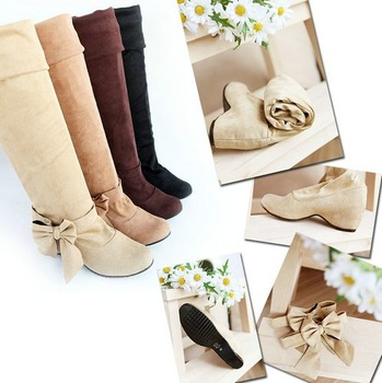 Big size boots 4 Colors US 4-15  New Faux suede Snow Over the knee Increased in Wedges women's Plush boots MLE-B-8