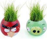 DIY planting grass dolls new miniature bonsai grass doll bird Mini Pot  Free shipping   8pc/lot