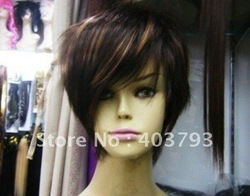 whole sale 1pcs can buy New style short brown human made hair full wig wigs free shipping(China (Mainland))