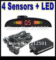 Free shipping with factory price Reverse Sensor 4 Sensors System 12v LED Display Indicator Parking Car Reverse Radar Kit