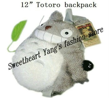 "Free shipping 20pcs/lot 12"" Totoro Plush Backpack Bags, Children School Backpack ,Stuffed Plush Bags ,Plush Toys Bag SH-TR22"