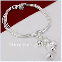 free shipping/fashion 925 Silver bracelet,mulit sand smooth beads.romantic Bracelet.Wholesale 925 Silver jewelry.bs001