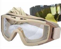 Airsoft USMC 2 mm Lens Tactical Goggles + Free 3 Lens Tan free ship