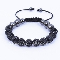Shamballa Jewelry,11PC 10mm Black Micro Pave Crystal Disco Ball Beads Shamballa Bracelet,Friendship Bracelet,FreeShipping