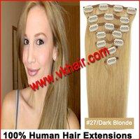 "15""18""20""22""24'' Remy Clip hair 7pcs Human Hair Extension70g 80g 100g  #27  dark blonde mix colors straight hair dropshipping"