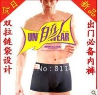wholesale free shipping brand 100% new Double zipper pocket Men's anti-theft cotton boxer underwear