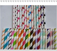 Free shipping by DHL 5000pcs Drinking Paper Straws,Paper Straws, mixed Striped and Polka Dot  drinking Straws 37colors