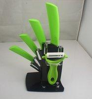 4pcs green ceramic knife set+ peeler+Knife Holder Ultra Sharp Kitchen