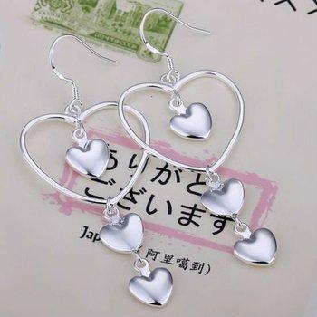 925 Sterling Silver Charming Zircon 3-Heart  Drop  Earrings Jewelry Whosesale  Free shipping