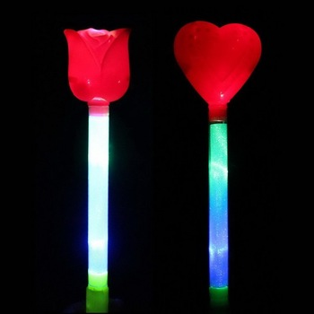 shipping10pcs/lot Multi colour flash Led wedding rose or heart glow stick christmas decoration  halloween supplies